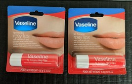 2-PACK Vaseline Lip Therapy Rosy Lips Petroleum Jelly Tinted Stick SAME-... - $6.85