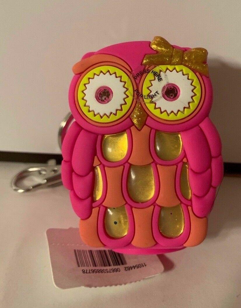 Bath Body Works Light Up Pink Owl w Eyes Older Antibacterial Gel Holder Keychain image 2