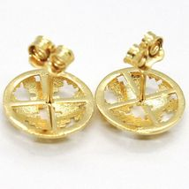 YELLOW GOLD EARRINGS 750 18K, BUTTON, DISCO, FINELY WORKED, HAMMERED image 3