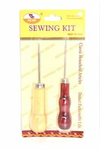 Wooden Handle Metal Stitcher Curved Hooked Crochet Needle & Sewing Awl, ... - $3.00