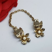 Vintage Faux Pearl & Gold Tone Flower Sweater Dress Scarf Guard Clip - $19.97
