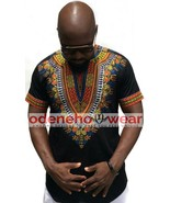 Odeneho Wear Men's Black Polished Cotton Top With Dashiki. African Clothing - $64.35+