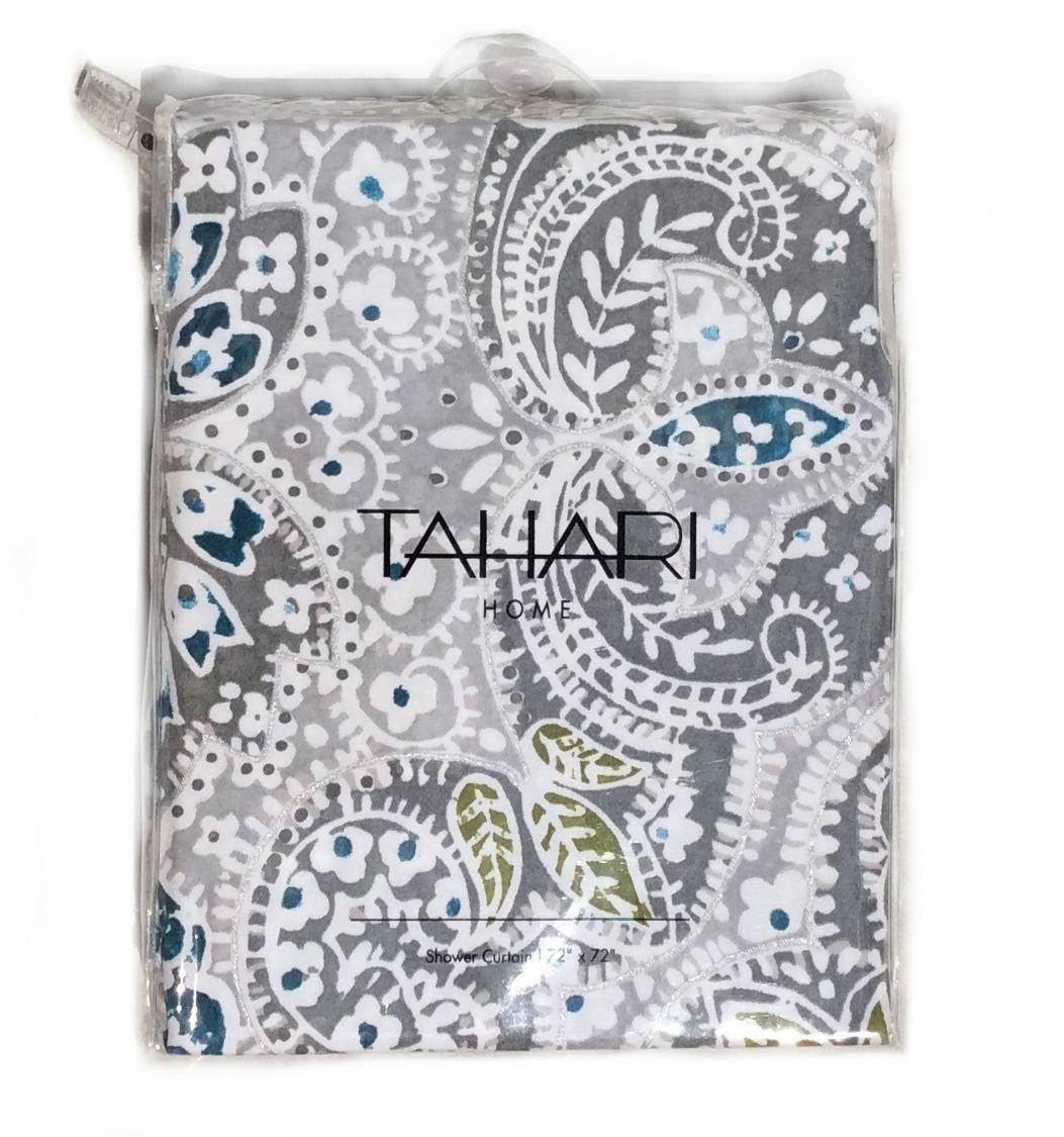 Tahari Mica Paisley Medallions Gray/Turquoise/White Shower Curtain