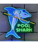 """Pool Shark Man Cave Beer Bar Pub Restaurant Neon Sign With Backing 24"""" b... - $319.00"""