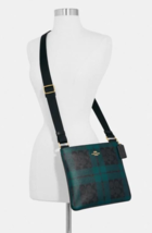 New Coach 80057 Zip File Crossbody Coated Canvas handbag Black /Deep Oce... - $99.00