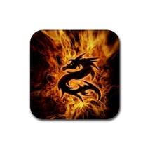 Fire Dragon Animal (Square) Rubber Coaster - $2.99