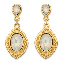 Oval White Crystal Gold Tone Vintage-Inspired Faceted Drop Earrings (44mm) - $11.49