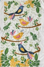 Birds Kitchen Tea Towel 100% Blue Gold Soft Cotton Green Leaves Made in ... - $10.04