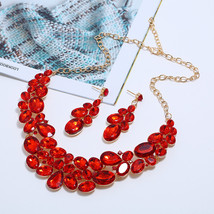 Ahmed Fashion Red Black Blue Crystal Water Drop Geometric Necklaces & Pe... - $12.71