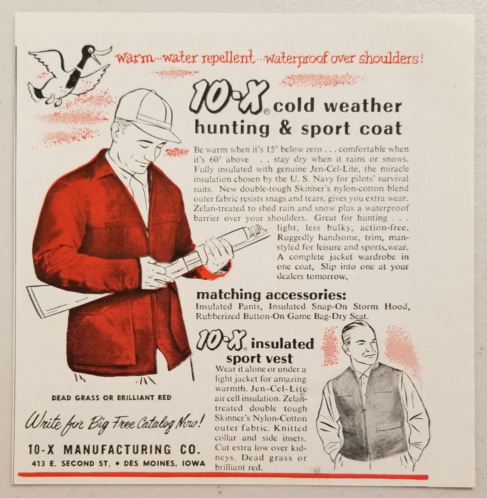 Primary image for 1956 Print Ad 10-X Cold Weather Hunting Coats & Vests Des Moines,Iowa
