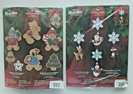 Bucilla Christmas Ornaments Gingerbread Village & Snowflake Hangers Open Pkg Z4 - $19.99