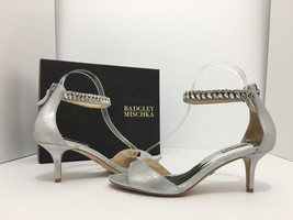 Badgley Mischka Angel II Silver Women's Evening High Heels Sandals Size ... - $88.21
