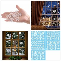 102 PCS White Snowflakes Window Clings Decal Stickers Christmas Home Dec... - £11.02 GBP