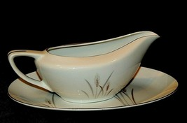 Platinum Wheat Fine China of Japan Gravy Boat with Separate Oval Dish AA... - $69.95