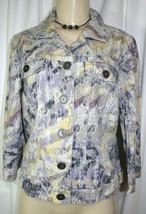 Chicos Sz 0 =(S 4 6) Purple Yellow Brushstroke Print Linen Blend Casual ... - $5.71
