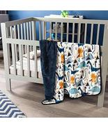 Blue Dinosaurs Baby Blanket with Sherpa Crib Size Soft and Warm Comforter - $49.45