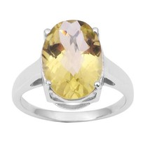 5.20 Carat Classic Lemon Solid Gemstone 925 Sterling Silver Women Ring S... - £16.40 GBP