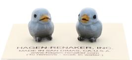 Hagen-Renaker Miniature Ceramic Bird Figurine Blue Tweetie Baby Tiny Chick Set 2