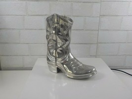 "Department 56 Silver Cowboy Boot Metal Chrome Decorative Vase 8"" long 9""... - $39.95"