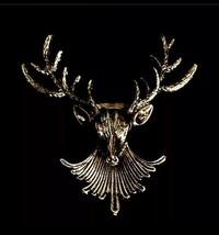 Stunning Gold Plated Retro Style Christmas Reindeer Head Brooch Cake Pin B16 - $10.05