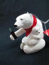 Coca-Cola Kurt Adler Resin Polar Bear Holiday Bear Hug Christmas Ornament - $10.89