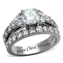 HCJ Women's Stainless Steel Fancy CZ Engagement Ring & Wedding Ring Set ... - $19.34