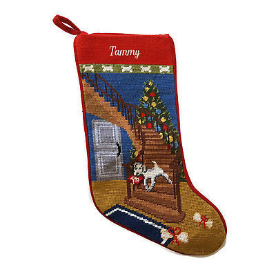 Lands End Christmas Stockings.Lands End Needlepoint Christmas Stocking Dog And Similar Items