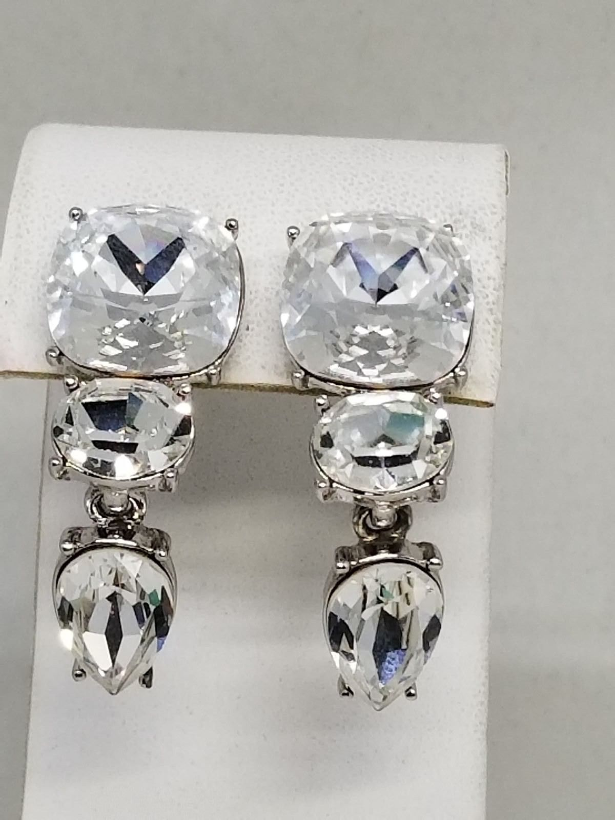 Monet Fantastic Huge Faceted Rhinestone Clip On Vintage Earrings for BRIDE
