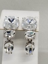 Monet Fantastic Huge Faceted Rhinestone Clip On Vintage Earrings for BRIDE - $35.99