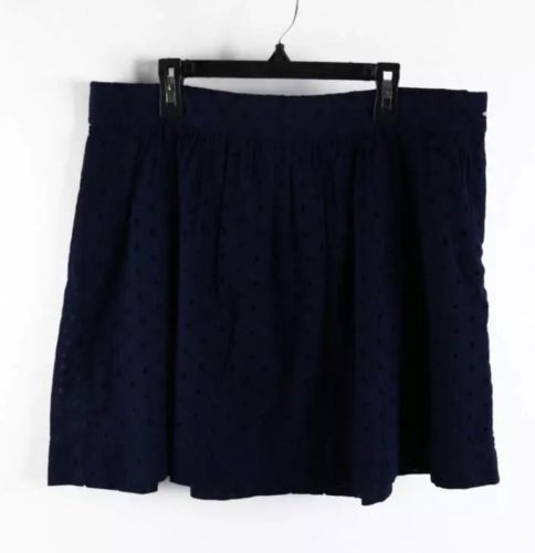 GAP Oxford Blue Quilted Polka Dot Eyelet A-Line Skirt 6P