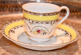 Occupied Japan Hand Painted Yellow Red Rose Floral Demi Tea Cup Saucer P... - $29.99