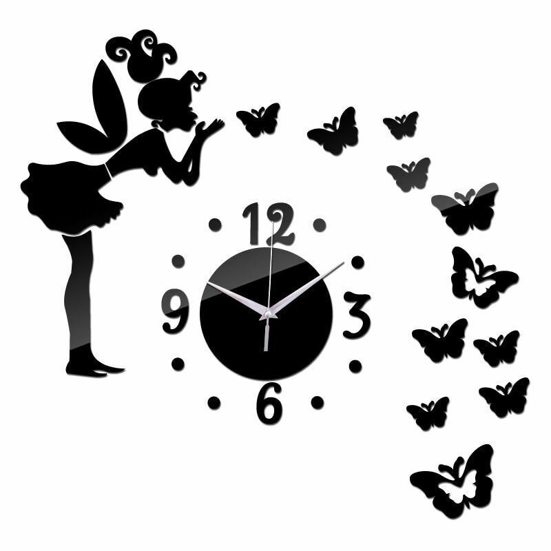 Primary image for DIY Wall Clock Quartz Black Acrylic Fairy Lady Girl Butterflies Kiss Kid Decor