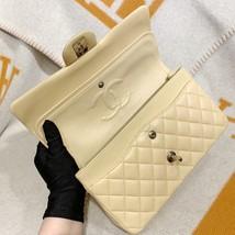 SALE* AUTHENTIC Chanel Quilted Lambskin Classic Medium Beige Double Flap Bag SHW image 8