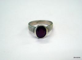 vintage antique tribal old silver ring ruby gemstone manik stone ring - $196.02