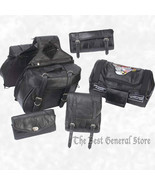 6pc Black Leather Motorcycle Luggage Set Saddlebags Sissy Bar Bag Biker ... - $89.99