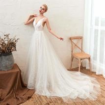 Women's Sleeveless Deep V Neck Backless Bride Lace Evening Gowns ALine Wedding D image 2