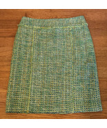 J McLaughlin 4 Green Shimmery Tweed Pencil Skirt Silk Lined Woven shine - $29.67
