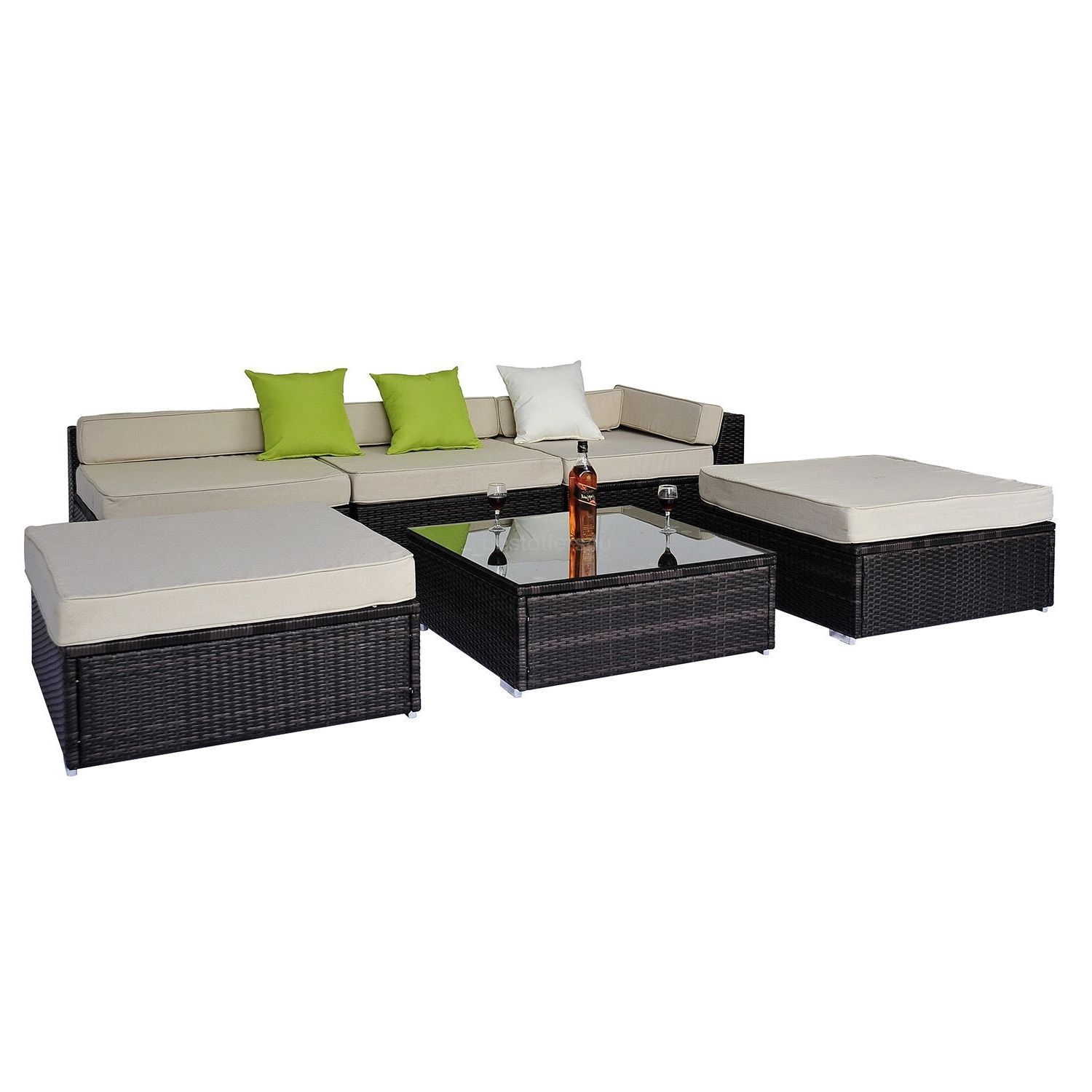 Garden Corner Sofa Rattan Set Luxury Wicker Conservatory Patio Furniture Brown image 1