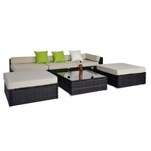 Garden Corner Sofa Rattan Set Luxury Wicker Conservatory Patio Furniture... - $730.16