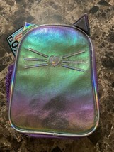 Purple Kitty Cat School Lunch Bag Single Compartment Side Mesh Bottle Ho... - $14.84