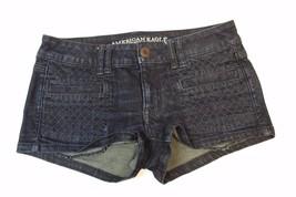 J2679 Womens Juniors American Eagle Blue Denim Jean Shortie Shorts New S Ize 6 - $32.83