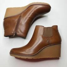 CLARKS Women's Slip-On Wedge Boots Hazen Flora Leather Tan 8 - $93.85