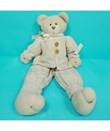 Dan Dee Brown Teddy Bear Plush Shelf Sitter Christmas Scarf Wooden Butto... - $19.79