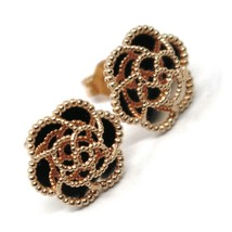 18K ROSE GOLD BOTTON FLOWER DAISY EARRINGS 14 MM, DOUBLE LAYER WORKED MIRROR image 2
