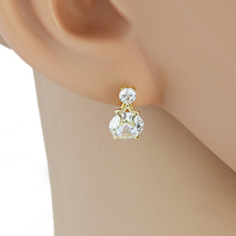 UE- Striking Gold Tone Drop Earrings With Sparkling Faux White Sapphire - $15.99