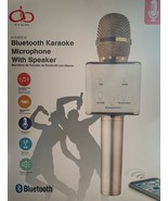 NEW Bluetooth Karaoke Microphone Dual Speaker Wireless Hand Held Gold White - $31.25