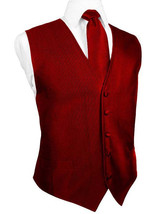 Red Silk Faille Tuxedo Vest with Matching Long Tie and Bow Tie - $159.00