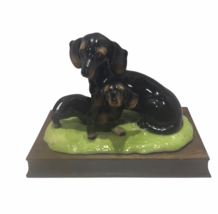 Vintage Collection H Black Dachshund Dog Mother & Puppy Dog Figurine - $25.74