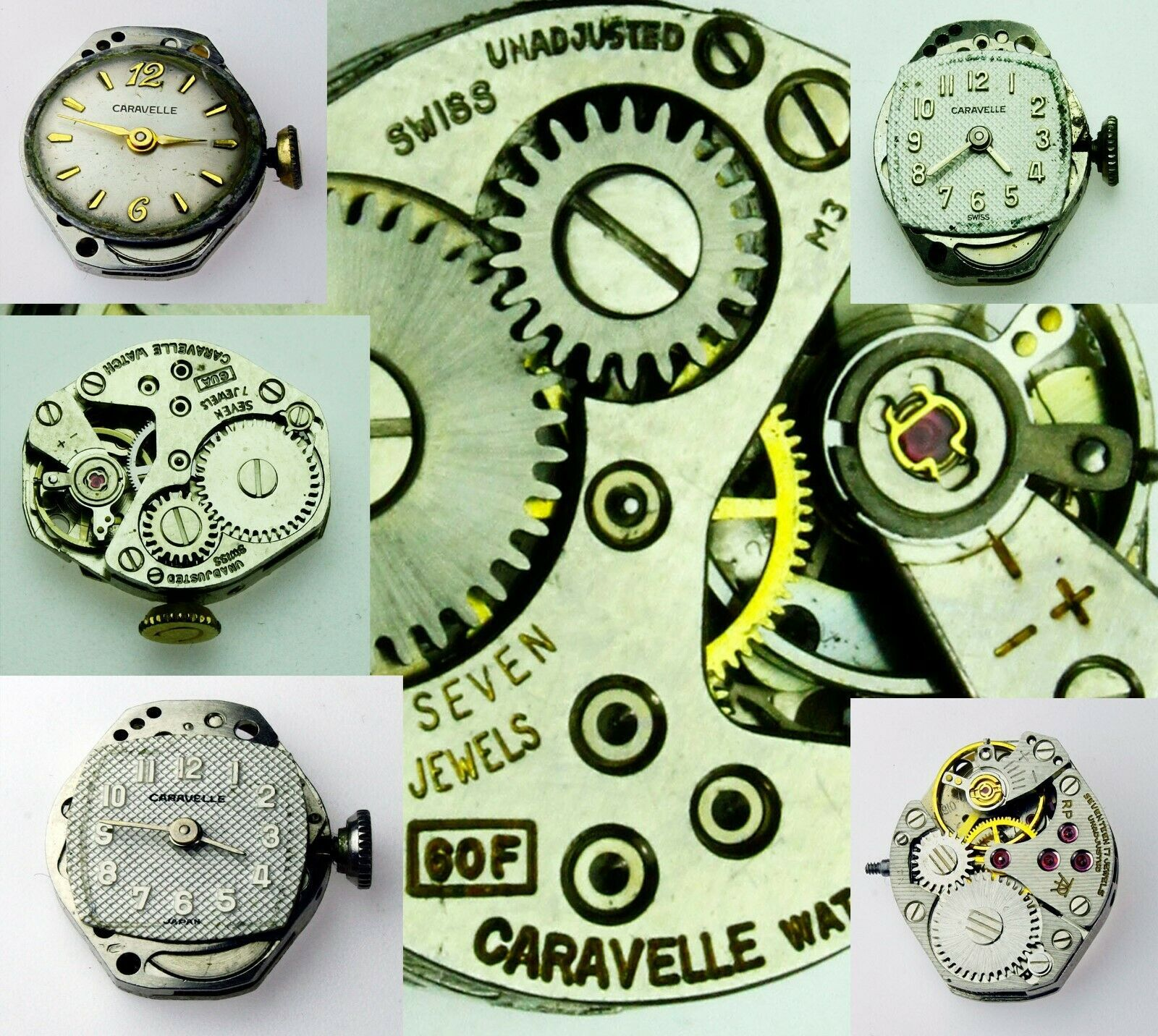 Primary image for CARAVELLE Used Old Vintage Watch Movement Verieties To Choose For parts Repaire