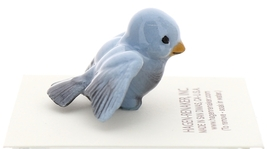 Hagen-Renaker Miniature Ceramic Bird Figurine Blue Tweetie Pa, Ma & Baby Set image 10